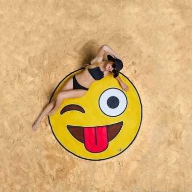 Emoticon knipoog strandhanddoeken 150 cm