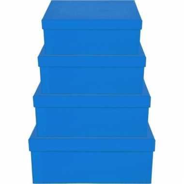 Etalage versiering blauwe cadeauverpakking doosje 13 cm