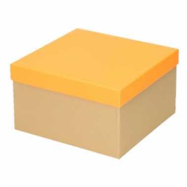 Etalage versiering karton/oranje cadeauverpakking doosje 19 cm