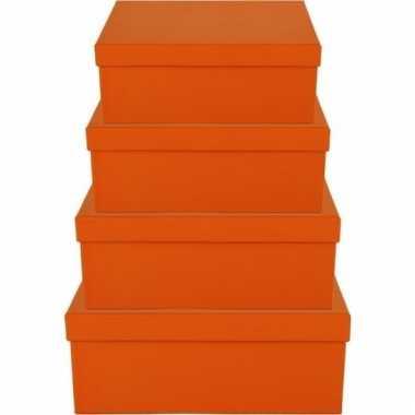 Etalage versiering oranje cadeauverpakking doosje 19 cm
