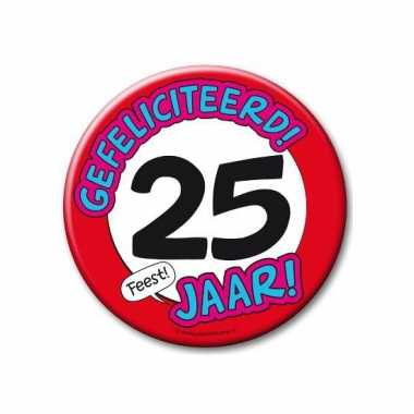 Extra grote button 25 jaar stopbord 10 cm