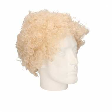 Feest 70s blonde krullen/afro pruik voor volwassenen
