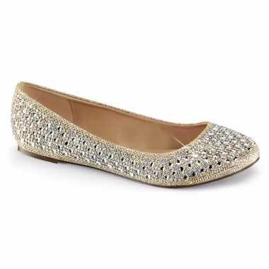 Feest ballerina schoenen goud/glitters voor dames