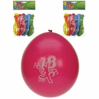 Feest ballonnen 18 jaar 8 stuks