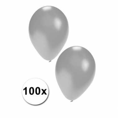 Feest ballonnen in zilverkleur 100 stuks