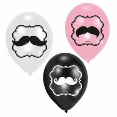Feest ballonnen met snor opdruk zes stuks