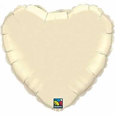 Feest folieballon ivoor wit hartje 45 cm