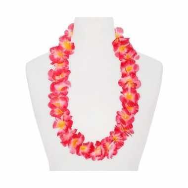 Feest hawaii slingers roze/oranje
