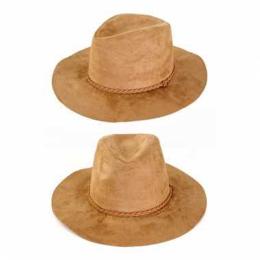 Feest indiana hoed cowboy beige voor volwassenen