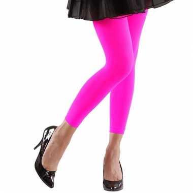 Feest legging neonroze voor dames