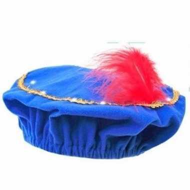 Feest pieten blauwe baret met lichtjes voor kinderen