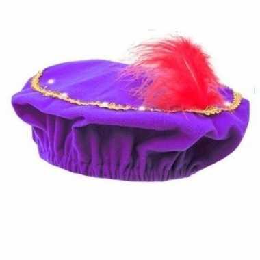 Feest pieten paarse baret met lichtjes voor kinderen