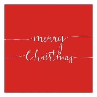 Feest servetten merry christmas rood