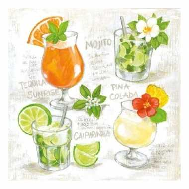 Feest servetten met cocktail print 3-laags 20 stuks