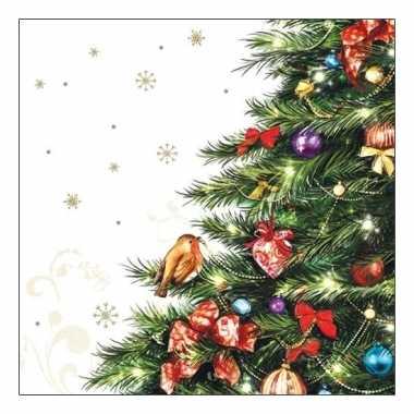 Feest servetten met kerstboom