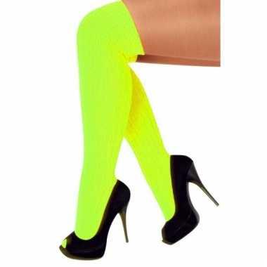 Feest sokken in fluor gele kleur