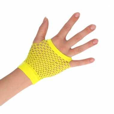Feest visnet handschoenen geel kort voor volwassenen