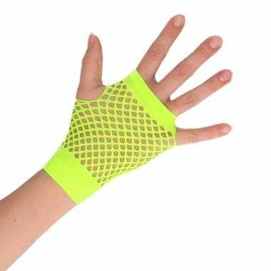 Feest visnet handschoenen groen kort voor volwassenen