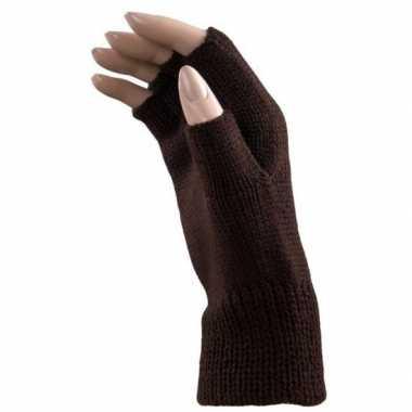 Feestartikelen gebreide vingerloze polsjes/handschoenen bruin voor vo