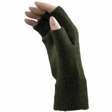 Feestartikelen gebreide vingerloze polsjes/handschoenen groen voor vo