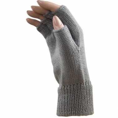 Feestartikelen gebreide vingerloze polsjes/handschoenen licht grijs v
