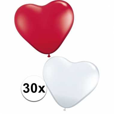 Feestartikelen hartjes ballonnen rood/wit 30 st