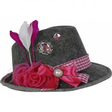 Feesthoeden oktoberfest grijs met roze veer