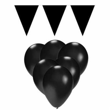 Feestpakket zwart 15 ballonnen met 2 vlaggenlijnen