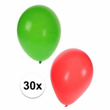Feestversiering kerstmis ballonnen 30 stuks