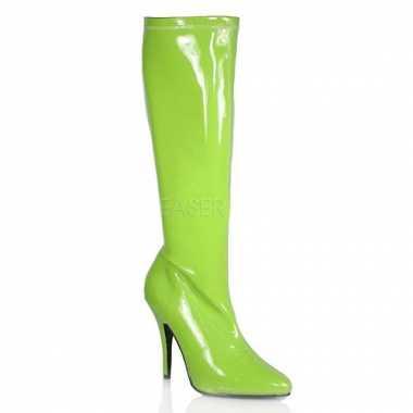 Fel groene gogo laarzen met hak