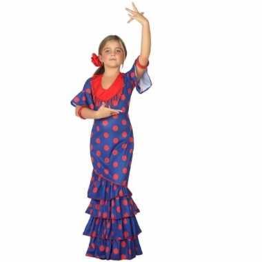 Flamenco jurk blauw met polkadots