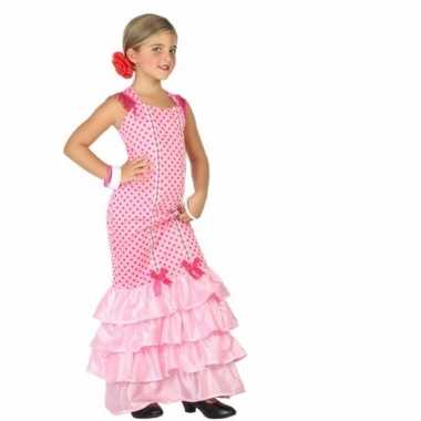 Flamenco jurk roze met polkadots