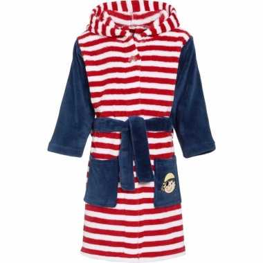 Fleece badjas gestreept rood/wit voor kinderen