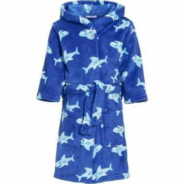 Fleece badjas haai blauw voor kinderen