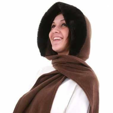 Fleece capuchonsjaal voor dames donkerbruin