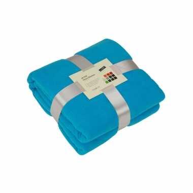 Fleece dekentje in turquoise kleur