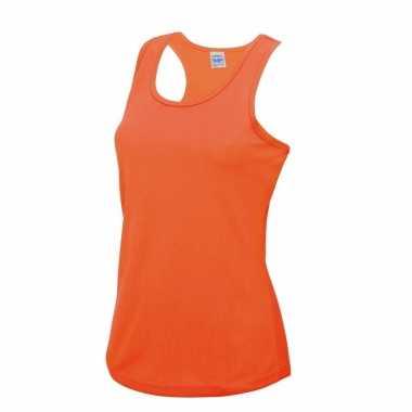 Fluor oranje strand singlet sneldrogend voor dames