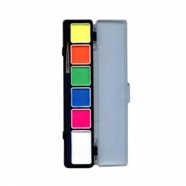 Fluor schminkpalet 6 kleurtjes
