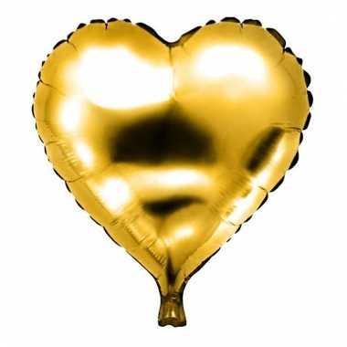 Folie ballon gouden hart gevuld met helium 49 cm