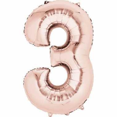 Folie ballon rosegoud cijfer 3