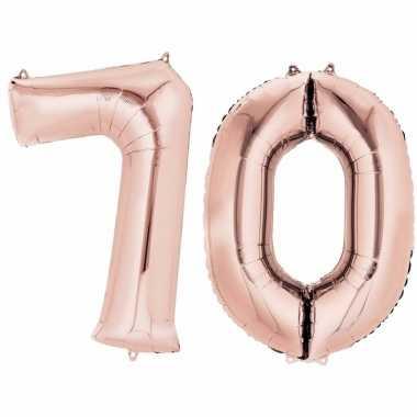 Folie ballon rosegoud cijfer 70