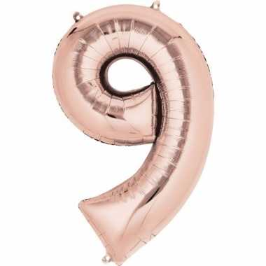 Folie ballon rosegoud cijfer 9