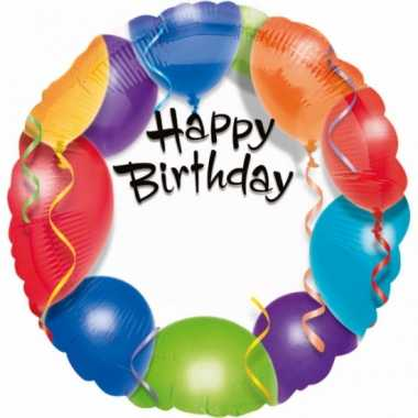 Folie ballon verjaardag met helium 45 cm