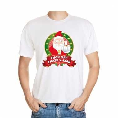Foute kerstmis shirt wit fuck off i hate x-mas voor mannen