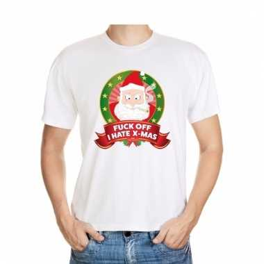 Foute kerstmis shirt wit fuck off i hate x-mas voor mannen