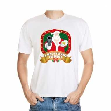 Foute kerstmis shirt wit x-mas is fucking expensive voor mannen