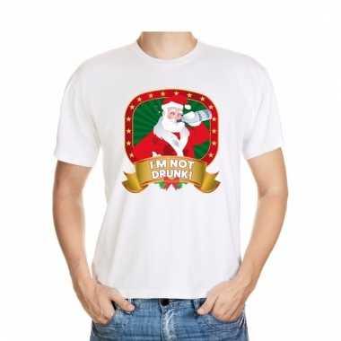 Foute kerstmis t-shirt wit i'm not drunk voor mannen