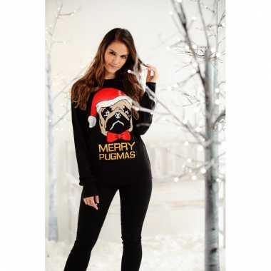 Foute kersttrui met mopshond voor dames en heren