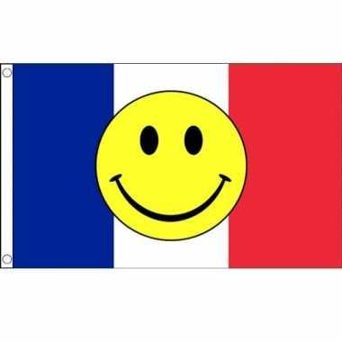 Franse vlag met gele smiley 90 x 150 cm