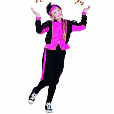 Fuchsia zwarte pieten kostuum voor kids